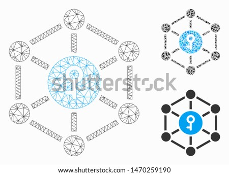 Mesh public key model with triangle mosaic icon. Wire frame triangular mesh of public key. Vector mosaic of triangle parts in various sizes, and color hues. Abstract 2d mesh public key,