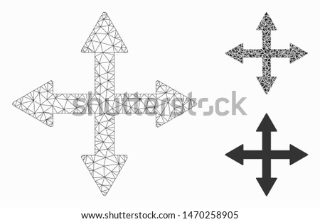 Mesh quadro arrows model with triangle mosaic icon. Wire frame triangular mesh of quadro arrows. Vector mosaic of triangle parts in different sizes, and color tinges. Abstract 2d mesh quadro arrows, Foto stock ©