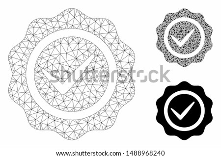 Mesh quality seal model with triangle mosaic icon. Wire carcass polygonal mesh of quality seal. Vector composition of triangles in variable sizes, and color shades. Abstract flat mesh quality seal,