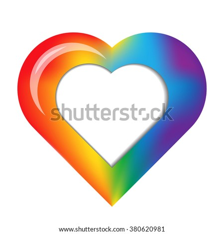 Mesh rainbow heart with place for your text or image. Vector illustration for your graphic design.