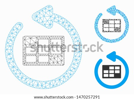 Mesh refresh calendar table model with triangle mosaic icon. Wire frame triangular mesh of refresh calendar table. Vector mosaic of triangle parts in different sizes, and color shades.