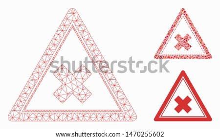 Mesh reject triangle model with triangle mosaic icon. Wire carcass triangular mesh of reject triangle. Vector mosaic of triangle parts in different sizes, and color tints.
