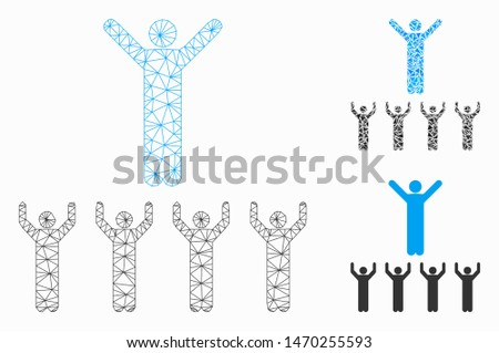 Mesh religion guru model with triangle mosaic icon. Wire frame polygonal mesh of religion guru. Vector mosaic of triangle elements in various sizes, and color tones. Abstract 2d mesh religion guru,