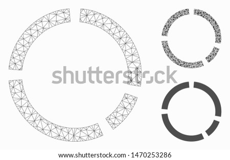 Mesh round diagram model with triangle mosaic icon. Wire frame triangular mesh of round diagram. Vector mosaic of triangle parts in different sizes, and color hues. Abstract 2d mesh round diagram,