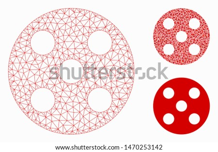Mesh round dice model with triangle mosaic icon. Wire carcass triangular mesh of round dice. Vector collage of triangle parts in different sizes, and color shades. Abstract flat mesh round dice,