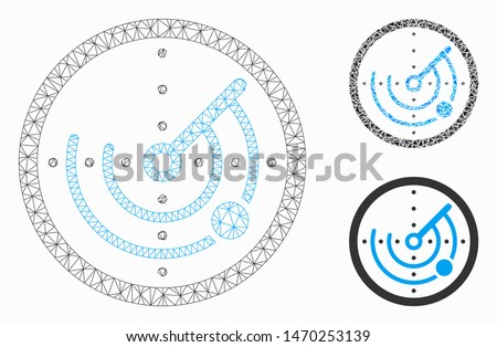 Mesh round radar model with triangle mosaic icon. Wire carcass polygonal mesh of round radar. Vector collage of triangle elements in variable sizes, and color shades. Abstract flat mesh round radar,