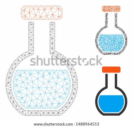 Mesh round retort model with triangle mosaic icon. Wire frame triangular mesh of round retort. Vector collage of triangle elements in variable sizes, and color tinges. Abstract flat mesh round retort,