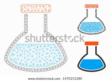 Mesh rounded flask model with triangle mosaic icon. Wire frame polygonal mesh of rounded flask. Vector mosaic of triangles in variable sizes, and color tints. Abstract flat mesh rounded flask,