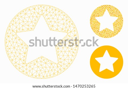 Mesh rounded star model with triangle mosaic icon. Wire carcass triangular mesh of rounded star. Vector mosaic of triangle elements in various sizes, and color tints. Abstract 2d mesh rounded star,