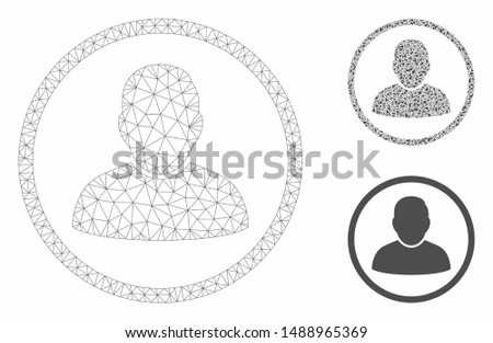 Mesh rounded user model with triangle mosaic icon. Wire carcass triangular mesh of rounded user. Vector collage of triangle parts in different sizes, and color hues. Abstract flat mesh rounded user,
