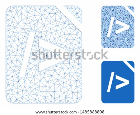 Mesh script code model with triangle mosaic icon. Wire frame triangular mesh of script code. Vector composition of triangle parts in variable sizes, and color hues. Abstract flat mesh script code,