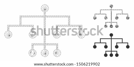 Mesh script tree model with triangle mosaic icon. Wire carcass polygonal mesh of script tree. Vector collage of triangle elements in different sizes, and color shades. Abstract 2d mesh script tree,