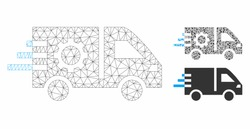 Mesh service car model with triangle mosaic icon. Wire carcass polygonal mesh of service car. Vector mosaic of triangle elements in various sizes, and color shades. Abstract 2d mesh service car,