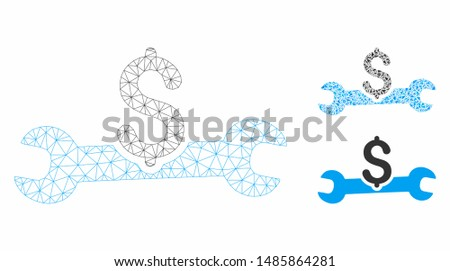 Mesh service cost model with triangle mosaic icon. Wire frame triangular mesh of service cost. Vector collage of triangle parts in different sizes, and color tints. Abstract flat mesh service cost,