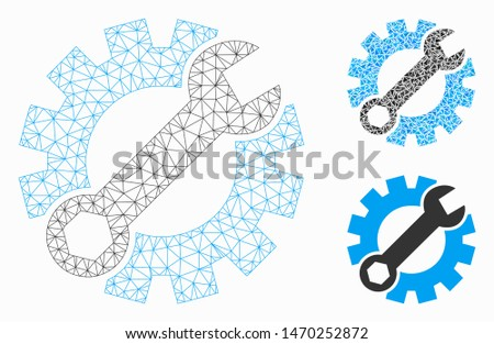 Mesh setup tools model with triangle mosaic icon. Wire carcass polygonal mesh of setup tools. Vector mosaic of triangle elements in different sizes, and color tones. Abstract 2d mesh setup tools,