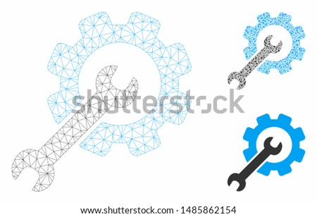 Mesh setup tools model with triangle mosaic icon. Wire frame polygonal mesh of setup tools. Vector mosaic of triangles in different sizes, and color shades. Abstract 2d mesh setup tools,