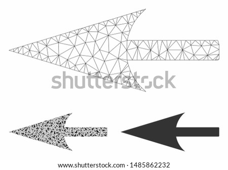 Mesh sharp left arrow model with triangle mosaic icon. Wire carcass triangular mesh of sharp left arrow. Vector mosaic of triangles in various sizes, and color shades.