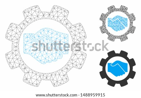 Mesh smart contract setup gear model with triangle mosaic icon. Wire frame polygonal mesh of smart contract setup gear. Vector mosaic of triangle parts in variable sizes, and color tinges.
