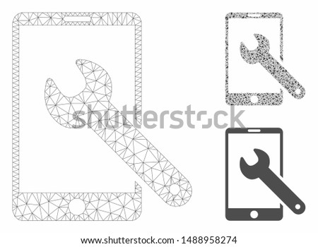 Mesh smartphone setup wrench model with triangle mosaic icon. Wire carcass triangular mesh of smartphone setup wrench. Vector mosaic of triangle elements in various sizes, and color tints.