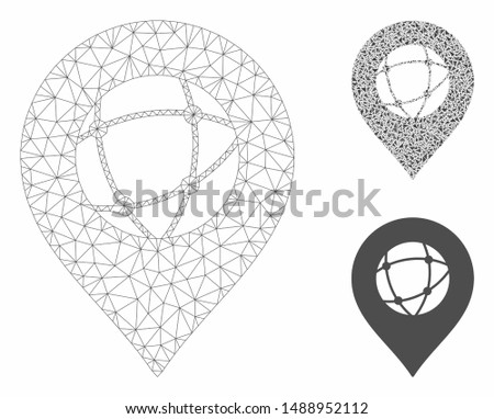Mesh sphere marker model with triangle mosaic icon. Wire frame polygonal mesh of sphere marker. Vector collage of triangle parts in various sizes, and color hues. Abstract 2d mesh sphere marker,