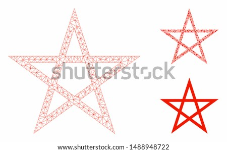 Mesh star pentagram model with triangle mosaic icon. Wire frame polygonal mesh of star pentagram. Vector mosaic of triangle elements in various sizes, and color hues. Abstract 2d mesh star pentagram,