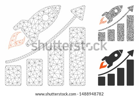 Mesh startup rocket growth chart model with triangle mosaic icon. Wire frame triangular mesh of startup rocket growth chart. Vector composition of triangle elements in various sizes, and color hues.