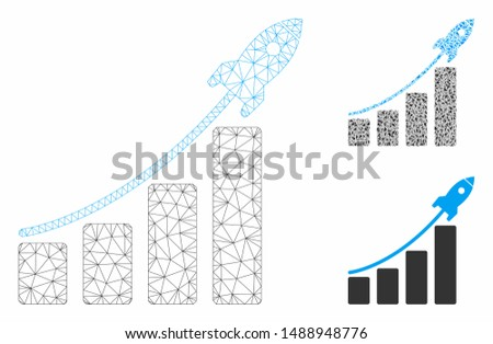 Mesh startup sales chart model with triangle mosaic icon. Wire frame triangular mesh of startup sales chart. Vector mosaic of triangle elements in different sizes, and color tints.