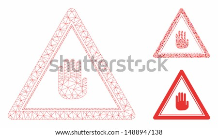 Mesh stop hand triangle model with triangle mosaic icon. Wire frame polygonal mesh of stop hand triangle. Vector mosaic of triangle parts in various sizes, and color tints.