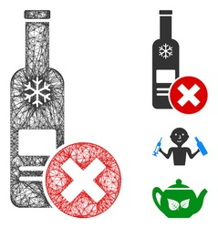 Mesh stop vodka drinking polygonal web 2d vector illustration. Carcass model is based on stop vodka drinking flat icon. Triangular mesh forms abstract stop vodka drinking flat model.