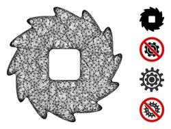 Mesh teeth ratchet wheel web 2d vector illustration. Model is based on teeth ratchet wheel flat icon. Net forms abstract teeth ratchet wheel flat model.
