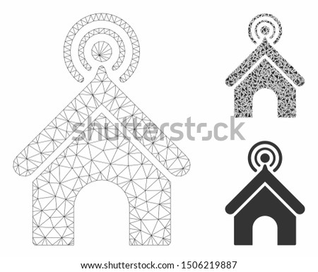 Mesh telecom office model with triangle mosaic icon. Wire carcass triangular mesh of telecom office. Vector mosaic of triangle elements in different sizes, and color tints.