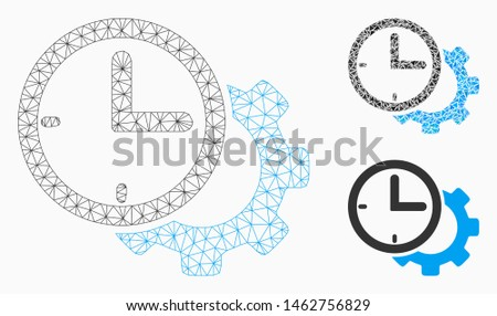 Mesh time setup gear model with triangle mosaic icon. Wire carcass polygonal mesh of time setup gear. Vector mosaic of triangles in variable sizes, and color tones. Abstract flat mesh time setup gear,