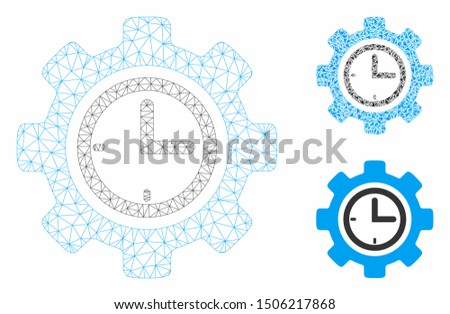 Mesh time setup gear model with triangle mosaic icon. Wire carcass triangular mesh of time setup gear. Vector mosaic of triangle elements in various sizes, and color hues.