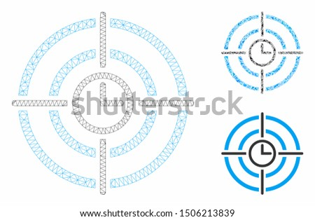 Mesh time target model with triangle mosaic icon. Wire frame triangular mesh of time target. Vector composition of triangles in various sizes, and color hues. Abstract 2d mesh time target,