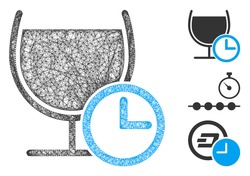 Mesh time to drink polygonal web icon vector illustration. Model is based on time to drink flat icon. Triangle mesh forms abstract time to drink flat model.