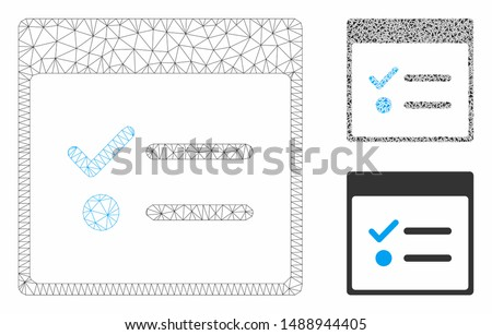 Mesh todo items calendar page model with triangle mosaic icon. Wire carcass polygonal mesh of todo items calendar page. Vector mosaic of triangle elements in different sizes, and color tints.