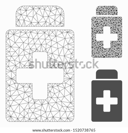 Mesh treatment vial model with triangle mosaic icon. Wire carcass polygonal mesh of treatment vial. Vector mosaic of triangles in variable sizes, and color tinges. Abstract flat mesh treatment vial,