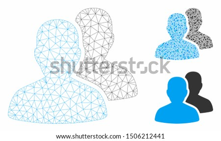 Mesh user accounts model with triangle mosaic icon. Wire carcass polygonal mesh of user accounts. Vector collage of triangle parts in different sizes, and color shades. Abstract 2d mesh user accounts,