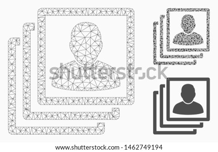 Mesh user accounts model with triangle mosaic icon. Wire carcass triangular mesh of user accounts. Vector mosaic of triangle parts in variable sizes, and color shades. Abstract 2d mesh user accounts,