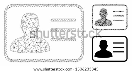 Mesh user card model with triangle mosaic icon. Wire carcass polygonal mesh of user card. Vector composition of triangle elements in variable sizes, and color tinges. Abstract flat mesh user card,