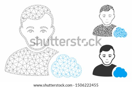 Mesh user cloud model with triangle mosaic icon. Wire frame polygonal mesh of user cloud. Vector composition of triangle parts in various sizes, and color tinges. Abstract flat mesh user cloud,