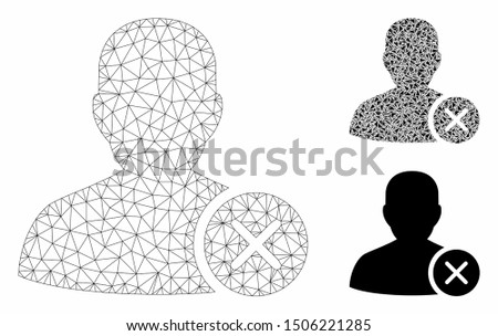 Mesh user erase model with triangle mosaic icon. Wire frame polygonal mesh of user erase. Vector collage of triangle elements in variable sizes, and color shades. Abstract 2d mesh user erase,