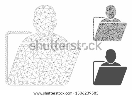 Mesh user folder model with triangle mosaic icon. Wire frame polygonal mesh of user folder. Vector mosaic of triangle elements in variable sizes, and color tints. Abstract flat mesh user folder,