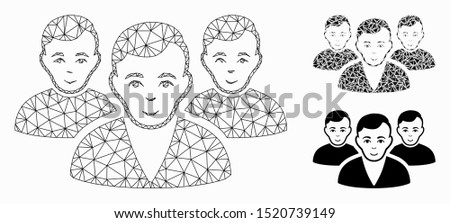 Mesh user group model with triangle mosaic icon. Wire carcass polygonal mesh of user group. Vector mosaic of triangle elements in various sizes, and color shades. Abstract flat mesh user group,