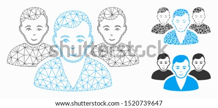 Mesh user group model with triangle mosaic icon. Wire carcass triangular mesh of user group. Vector collage of triangle parts in different sizes, and color tinges. Abstract 2d mesh user group,
