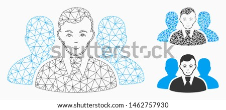 Mesh user group model with triangle mosaic icon. Wire frame polygonal mesh of user group. Vector mosaic of triangle elements in different sizes, and color hues. Abstract 2d mesh user group,