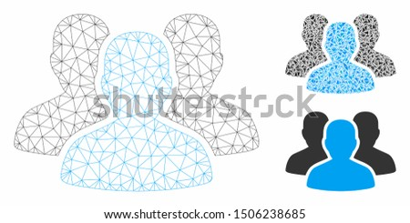 Mesh user group model with triangle mosaic icon. Wire frame polygonal mesh of user group. Vector mosaic of triangle elements in variable sizes, and color hues. Abstract 2d mesh user group,