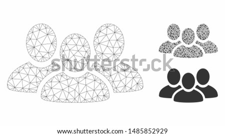 Mesh user group model with triangle mosaic icon. Wire frame triangular mesh of user group. Vector mosaic of triangle elements in various sizes, and color shades. Abstract 2d mesh user group,