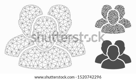Mesh user group model with triangle mosaic icon. Wire frame triangular mesh of user group. Vector mosaic of triangle elements in variable sizes, and color tinges. Abstract 2d mesh user group,