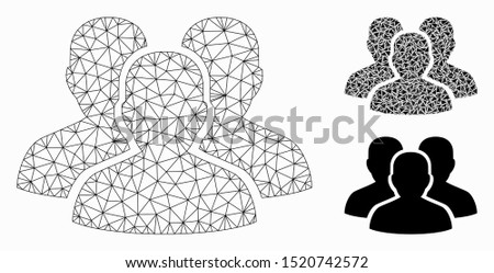 Mesh user group model with triangle mosaic icon. Wire frame triangular mesh of user group. Vector mosaic of triangle parts in different sizes, and color tinges. Abstract flat mesh user group,